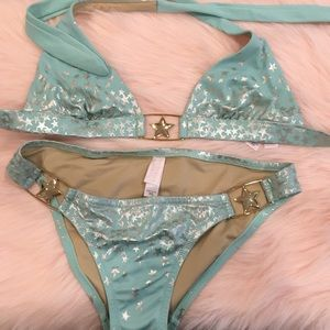 VICTORIA SECRETS TEAL BLUE WITH GOLD STAR XS SWIM